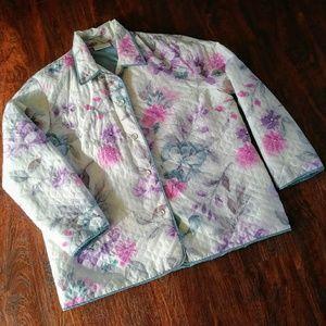 🌼Vintage Silk Pastel Floral Quilted Coat / Jacket
